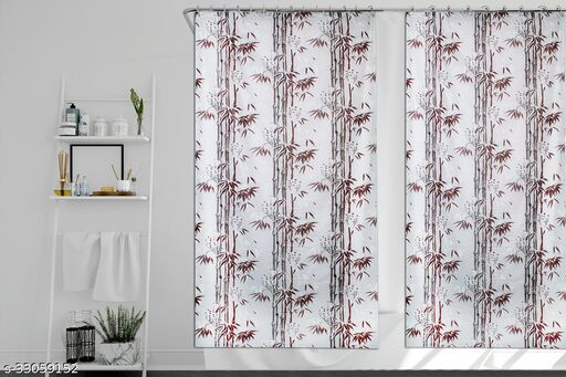 Stylista Set of 2 Waterproof Shower Curtains for Bathroom 7 feet Height 4.5 feet Width Bamboo Branches Pattern Brown with 16 Hooks