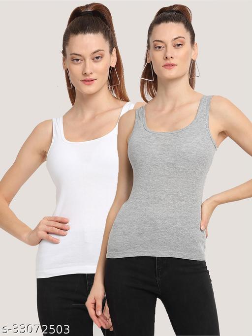 Women White Grey Cotton Rib Casual Sleeveless  Top