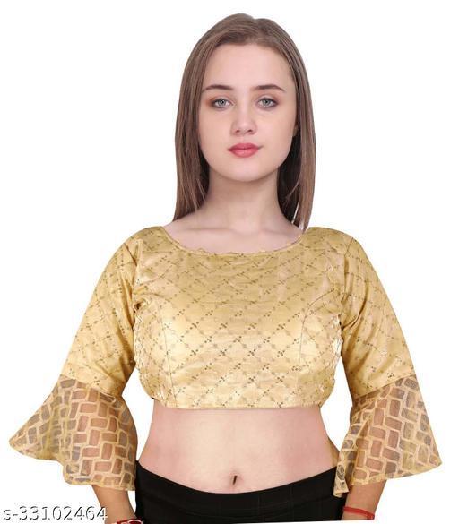 Stylish Embroidered Half Sleeves Satin Woman Blouse