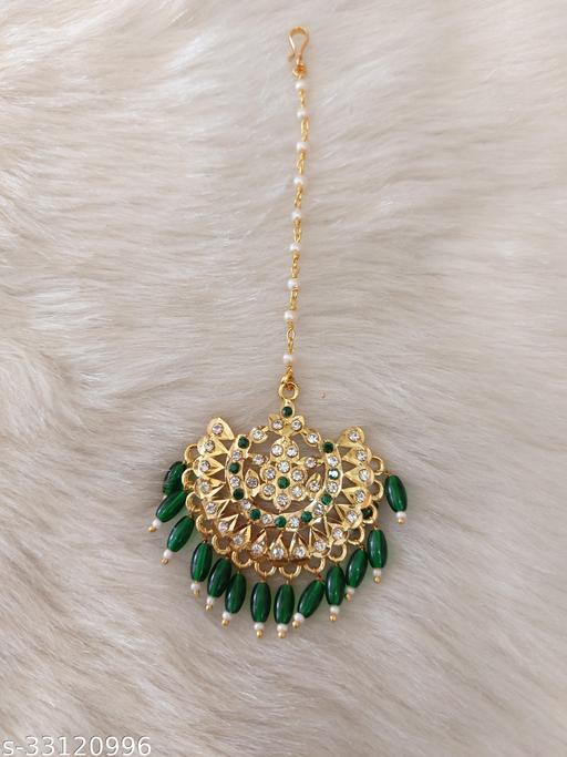 latest rajwadi ad jadu maangtika green colour