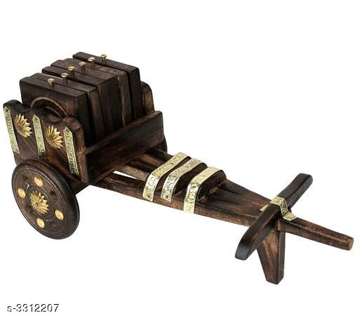 Show pieces Essential Unique Home Decor Utility  *Material* Wooden  *Size* Bullock Cart (L X W X H) - 6 in x 4 in x 5.5 in, Coasters (H X W)- 2.8 in x 2.8 in  *Description* It Has 1 Piece Of Bullock Cart & 6 Pieces Of Tea Coffee Coaster Set  *Sizes Available* Free Size *   Catalog Rating: ★4 (58)  Catalog Name: Essential Unique Home Decor Utilities Vol 11 CatalogID_458087 C127-SC1615 Code: 523-3312207-