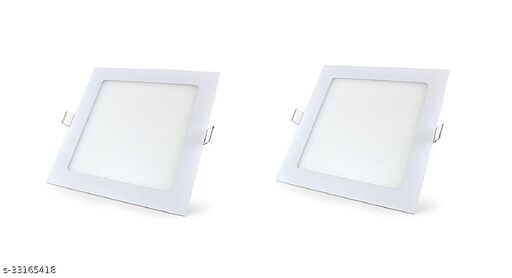 V-lite 12-Watt LED Square Slim Recessed Panel Ceiling Light (Cool White, Round, Set of 2 )