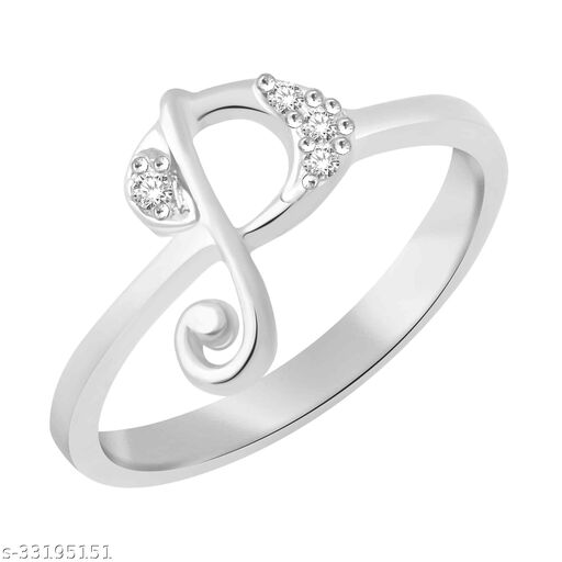 Sukai Jewels Positive 'P' Rhodium Plated Alloy Finger Ring for Women & Girls