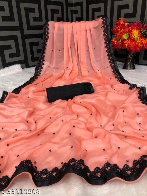 Akki Creation Women's Rangoli Silk Zipio Border Moti Work Beaded Party Wedding Fashion Sarees Peach Color