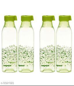 Nayasa Green Plastic Watter Bottle - Set of 4
