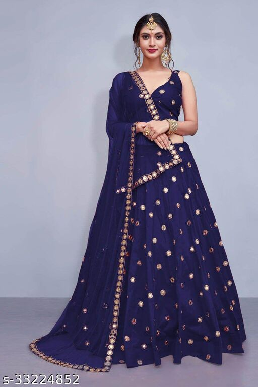 Women's Blue Stain Lehenga Choli