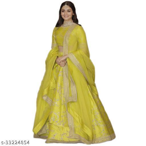 Women's Yellow Thai Silk Lehenga Choli