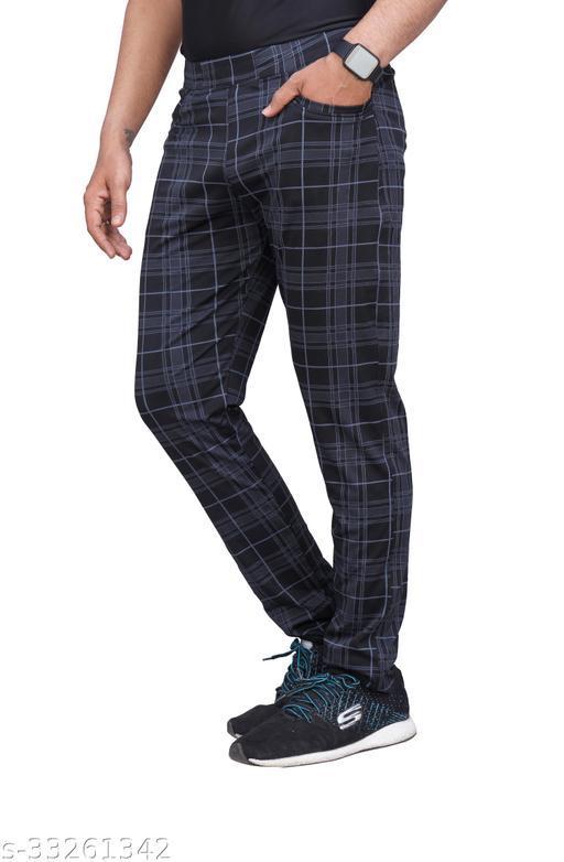 Checkered Men's Lycra Stretchable Regular Fit Black Track Pants