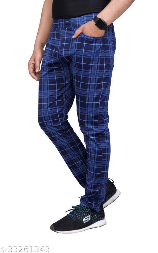 Checkered Men's Lycra Stretchable Regular Fit Blue Track Pants
