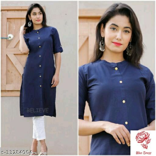 Women kurta straight cotton plain solid color kurtis