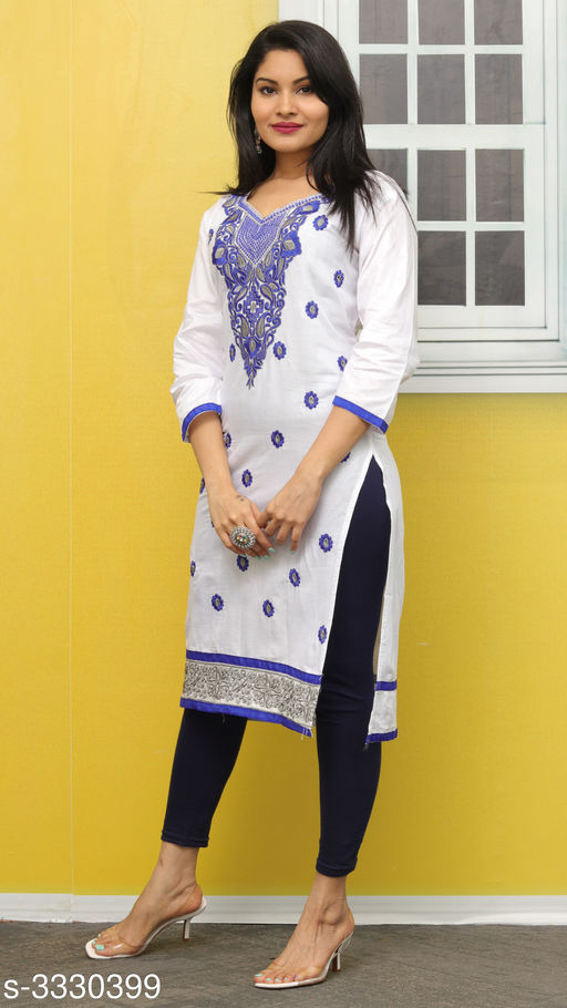 Kurtis & Kurtas Elegant Contemporary Cotton Embroidered Kurti  *Fabric* Glace Cotton  *Sleeves* Sleeves Are Included  *Size* L- 40 in  *Length* Up To 44 in  *Type* Stitched  *Description* It Has 1 Piece Of Women's Kurti  *Work* Embroidered  *Sizes Available* L *   Catalog Rating: ★3.4 (11)  Catalog Name: Hiba Elegant Contemporary Cotton Embroidered Kurtis Vol 3 CatalogID_460942 C74-SC1001 Code: 092-3330399-