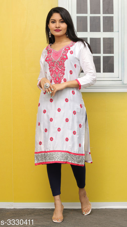 Kurtis & Kurtas Elegant Contemporary Cotton Embroidered Kurti  *Fabric* Glace Cotton  *Sleeves* Sleeves Are Included  *Size* L- 40 in  *Length* Up To 44 in  *Type* Stitched  *Description* It Has 1 Piece Of Women's Kurti  *Work* Embroidered  *Sizes Available* L *   Catalog Rating: ★3.4 (11)  Catalog Name: Hiba Elegant Contemporary Cotton Embroidered Kurtis Vol 3 CatalogID_460942 C74-SC1001 Code: 092-3330411-