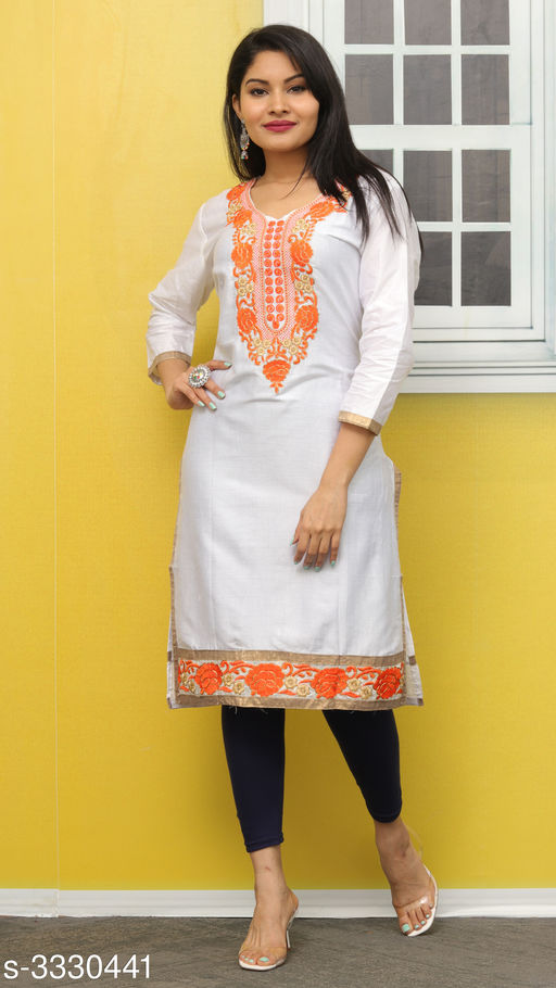 Kurtis & Kurtas Elegant Contemporary Cotton Embroidered Kurti  *Fabric* Glace Cotton  *Sleeves* Sleeves Are Included  *Size* L- 40 in  *Length* Up To 44 in  *Type* Stitched  *Description* It Has 1 Piece Of Women's Kurti  *Work* Embroidered  *Sizes Available* L *   Catalog Rating: ★3.4 (11)  Catalog Name: Hiba Elegant Contemporary Cotton Embroidered Kurtis Vol 3 CatalogID_460942 C74-SC1001 Code: 092-3330441-