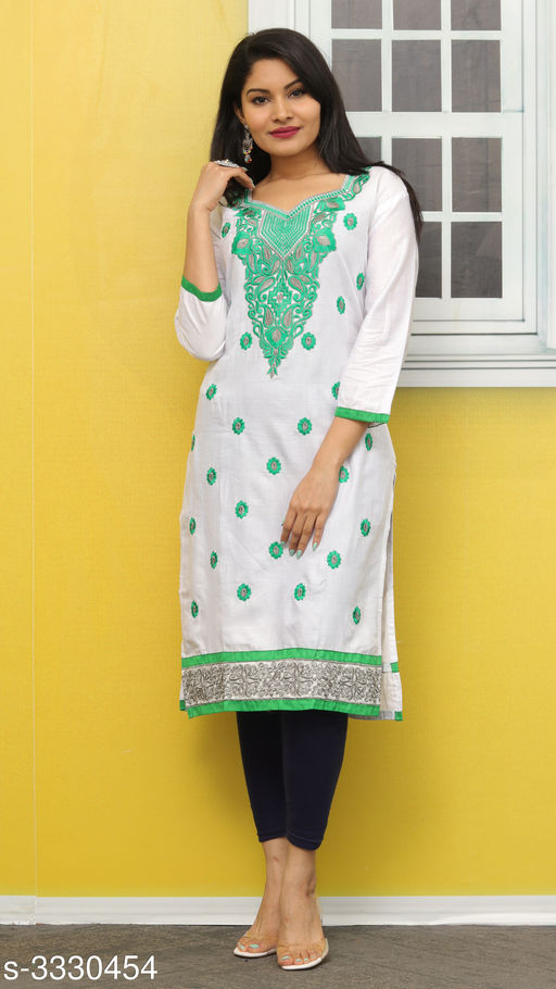 Kurtis & Kurtas Elegant Contemporary Cotton Embroidered Kurti  *Fabric* Glace Cotton  *Sleeves* Sleeves Are Included  *Size* L- 40 in  *Length* Up To 44 in  *Type* Stitched  *Description* It Has 1 Piece Of Women's Kurti  *Work* Embroidered  *Sizes Available* L *   Catalog Rating: ★3.4 (11)  Catalog Name: Hiba Elegant Contemporary Cotton Embroidered Kurtis Vol 3 CatalogID_460942 C74-SC1001 Code: 092-3330454-
