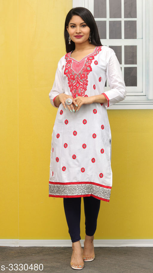 Kurtis & Kurtas Elegant Contemporary Cotton Embroidered Kurti  *Fabric* Glace Cotton  *Sleeves* Sleeves Are Included  *Size* L- 40 in  *Length* Up To 44 in  *Type* Stitched  *Description* It Has 1 Piece Of Women's Kurti  *Work* Embroidered  *Sizes Available* L *   Catalog Rating: ★3.4 (11)  Catalog Name: Hiba Elegant Contemporary Cotton Embroidered Kurtis Vol 3 CatalogID_460942 C74-SC1001 Code: 092-3330480-