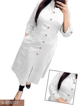 Women's Solid White Cotton Kurti