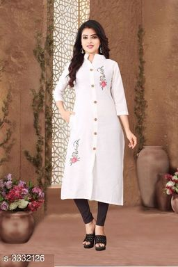 Women's Printed White Cotton Slub Kurti