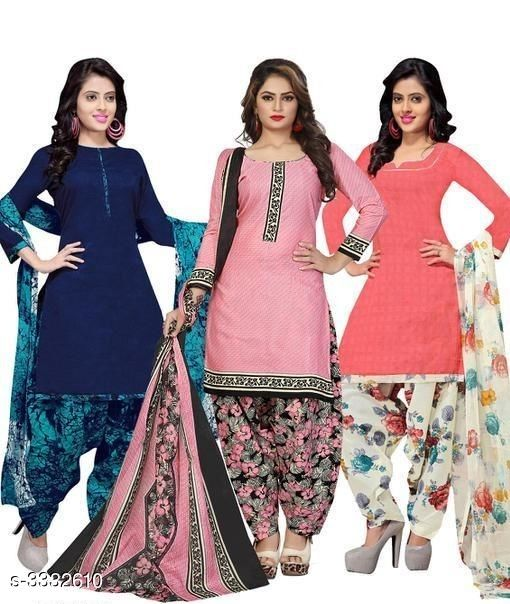 Ehnic Pretty Cotton Printed Suits & Dress Materials Combo
