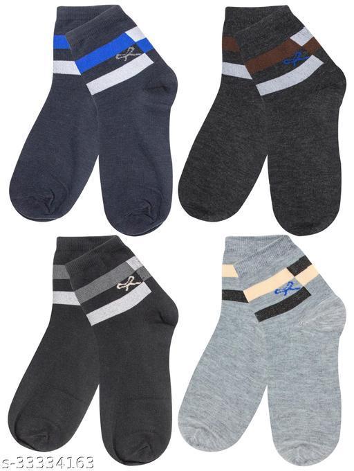 Neska Moda Men Pack Of 4 Pair Cotton Ankle Socks (Dark Blue,Black,Grey) -S1613