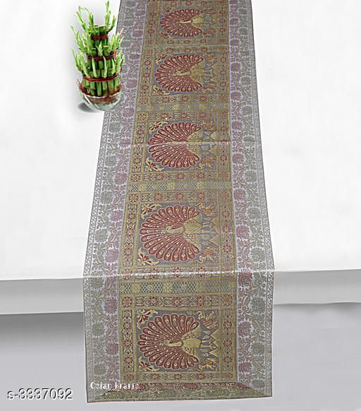 Table Runner Table Runner Home & Kitchen Utilities  *Material* Brocade & Polysatin  *Size ( L X W ) * 60 in x 16 In  *Description* It Has 1 Piece Of Table Runner  *Work* Patch Work  *Color* Grey  *Sizes Available* Free Size *   Catalog Rating: ★5 (4)  Catalog Name: Elegant Table Runner Home & Kitchen Utilities Vol 13 CatalogID_461941 C129-SC1127 Code: 214-3337092-