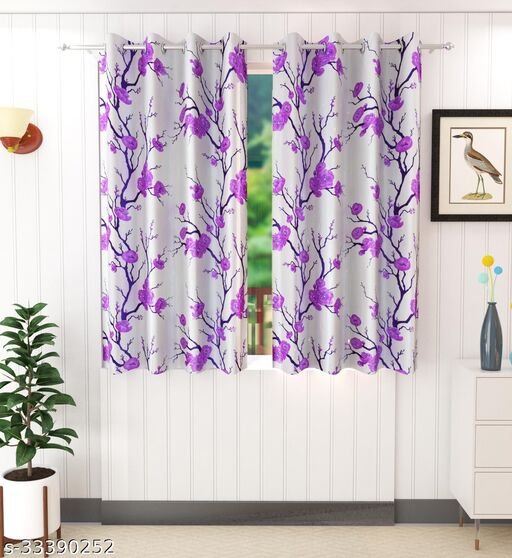Purple Flowers Printed Design Polyester Window 5 Feet Curtain Pack of 2