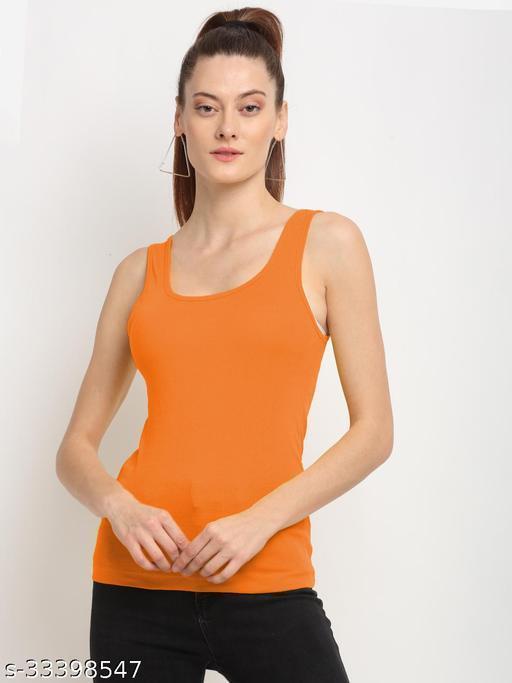 Women Orange cotton rib U-Neckvest Camisoles