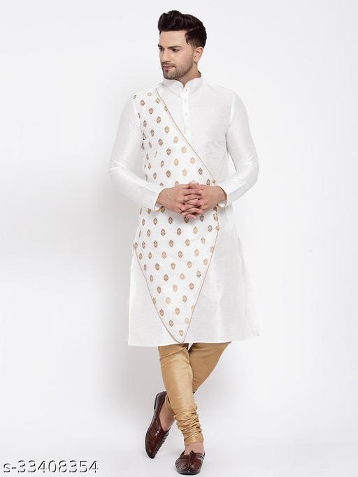 Over Crowd Men's Silk Solid Angarakha Ganesh Jacquard Kurta Pyjama (White)