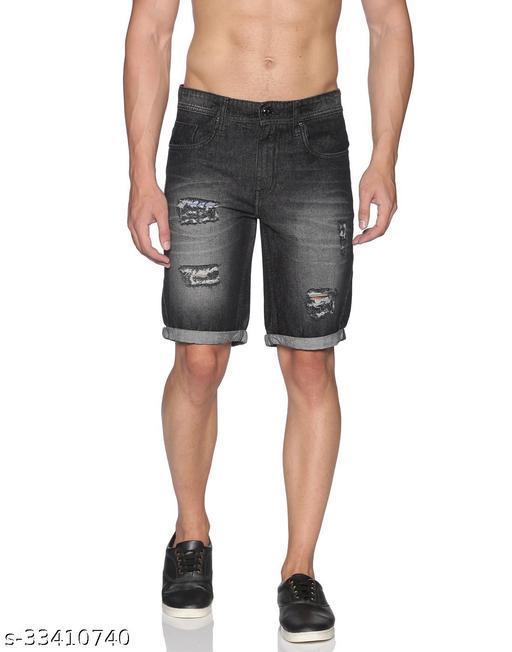 Raa Jeans Men's Black Denim Slim Fit Shorts