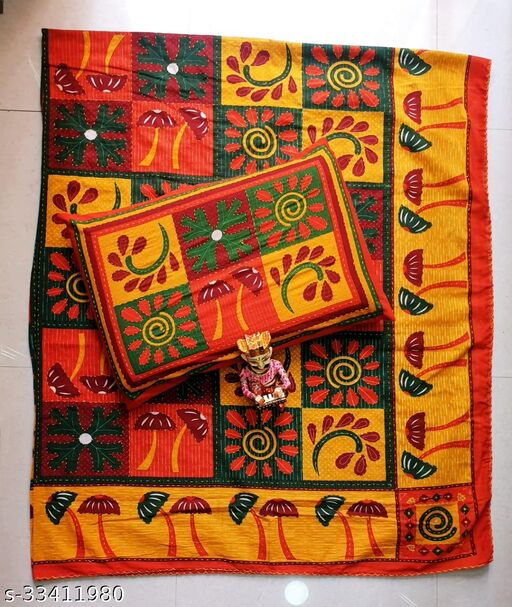 Rajasthani Traditionally Jaipuri Katha Print King Size Double Bedsheet with Two Pillow Covers