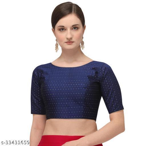 Fab Dadu Women's Jacquard Navy Blue Blouse With Boat Neck  (BL-20082-Navy_Blue)_Free_Size