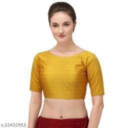 Fab Dadu Women's Jacquard Yellow Blouse With Boat Neck  (BL-20082-Yellow)_Free_Size