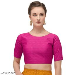 Fab Dadu Women's Jacquard Pink Blouse With Boat Neck  (BL-20082-Pink)_Free_Size