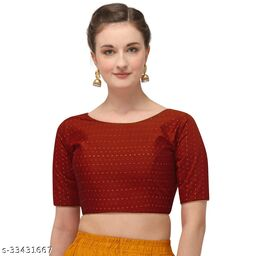 Fab Dadu Women's Jacquard Maroon Blouse With Boat Neck  (BL-20082-Maroon)_Free_Size