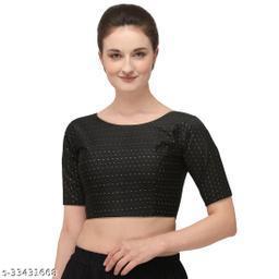 Fab Dadu Women's Jacquard Black Blouse With Boat Neck  (BL-20082-Black)_Free_Size
