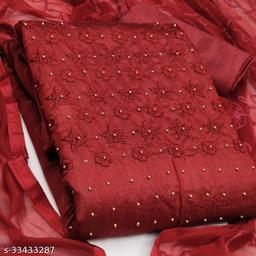 Chanderi Cotton Embellished Kurta & Churidar Material
