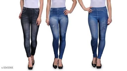 Jeggings Ladies Fancy Cotton Polyester Blend Jegging (Pack Of 3)  *Fabric* Cotton Polyester Blend  *Waist Size* M - 28 in, L - 30 in, XL - 32 in, XXL - 34 in  *Length* Up To 38 in  *Type* Stitched  *Description* It Has 3 Pieces Of Jeggings  *Work / Pattern* Jegging 1 - Solid, Jegging 2 - Printed, Jegging 3 - Printed  *Sizes Available* M, L, XL, XXL *   Catalog Rating: ★3.5 (77)  Catalog Name: Eva Ladies Fancy Cotton Polyester Blend Jeggings Vol 1 CatalogID_462985 C79-SC1033 Code: 166-3343366-