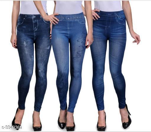 Jeggings Ladies Fancy Cotton Polyester Blend Jegging (Pack Of 3)  *Fabric* Cotton Polyester Blend  *Waist Size* M - 28 in, L - 30 in, XL - 32 in, XXL - 34 in  *Length* Up To 38 in  *Type* Stitched  *Description* It Has 4 Pieces Of Jeggings  *Work / Pattern* Jegging 1 - Printed, Jegging 2 - Printed, Jegging 3 - Solid  *Sizes Available* M, L, XL, XXL *   Catalog Rating: ★3.5 (77)  Catalog Name: Eva Ladies Fancy Cotton Polyester Blend Jeggings Vol 1 CatalogID_462985 C79-SC1033 Code: 166-3343369-