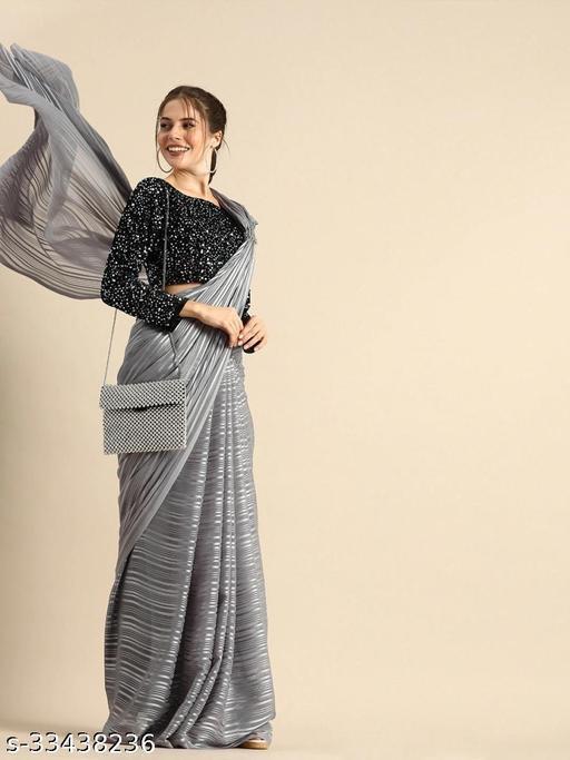 Gstuff Villa Women's Georgette Plain Silver Line Saree With Blouse Piece