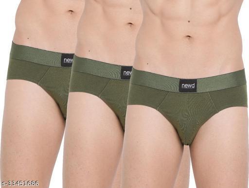 NEWD Brief for Men Cotton Underwear (Olive) Pack of 3