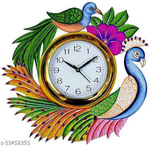 Peacock Wooden Wall Clock Multicolour Decorative
