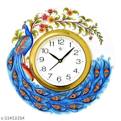 Round Blue Peacock Wooden Wall Clock Multicolour