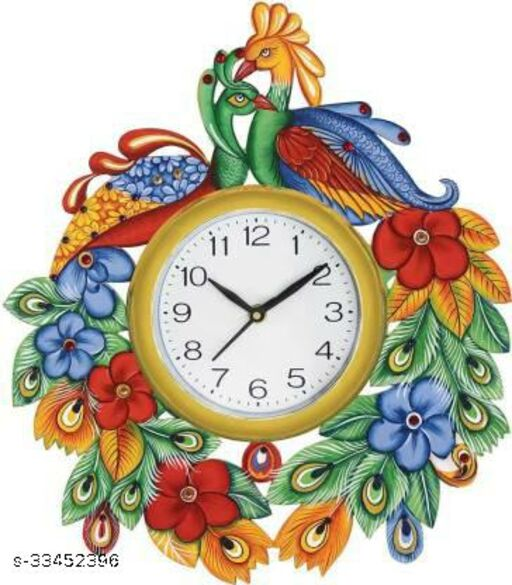 Two Peacock Wooden Wall Clock Multicolour