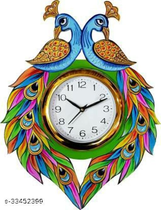 Two Peacock Wall Clock Decorative
