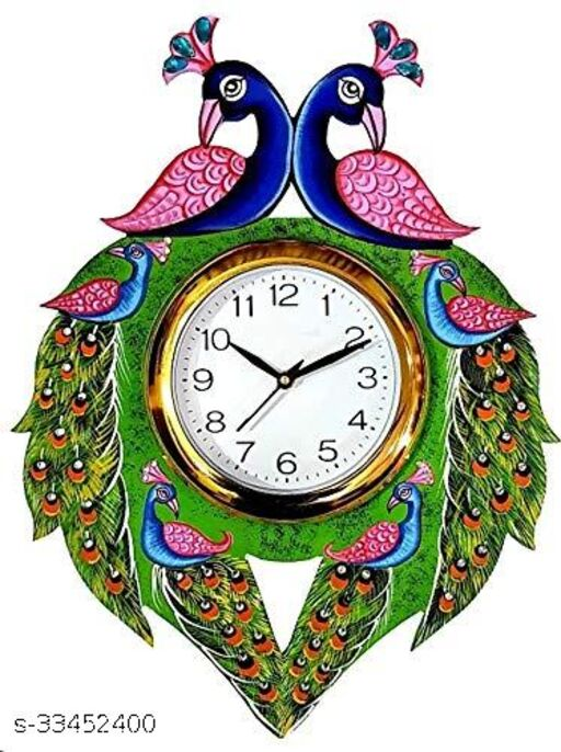 Two Peacock Wooden Decorative Wall Clock
