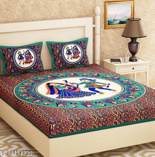 Sanganeri Jaipuri Printed Double Bedsheet with 2 Pillow Cover(89*100)