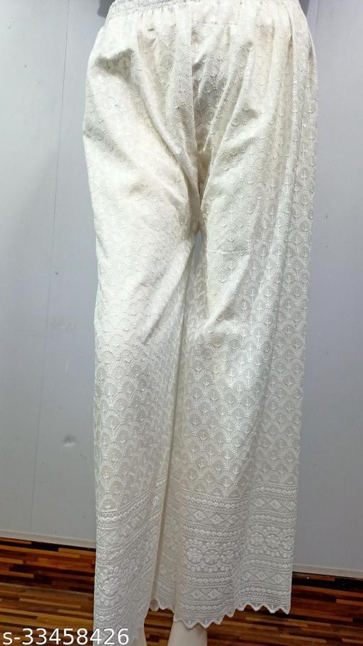 Camellias Stylish White Full Sitara Embroidered Cotton Palazzo's for Women