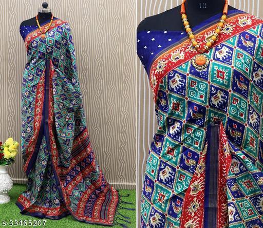 RekhaManiyar Beautiful ART SILK printed saree with tassels.