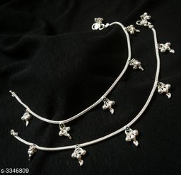 Women's Brass Silver Plated Anklets & Toe Rings