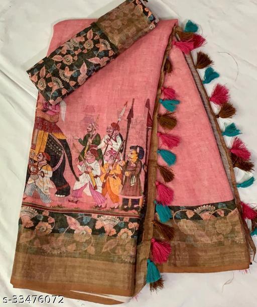 Beautiful Linen Designer Printed Saree
