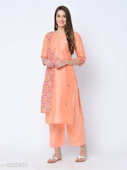 Women Art Silk Layered Printed Orange Kurti